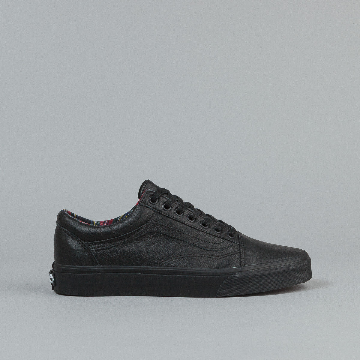 black leather old skool vans