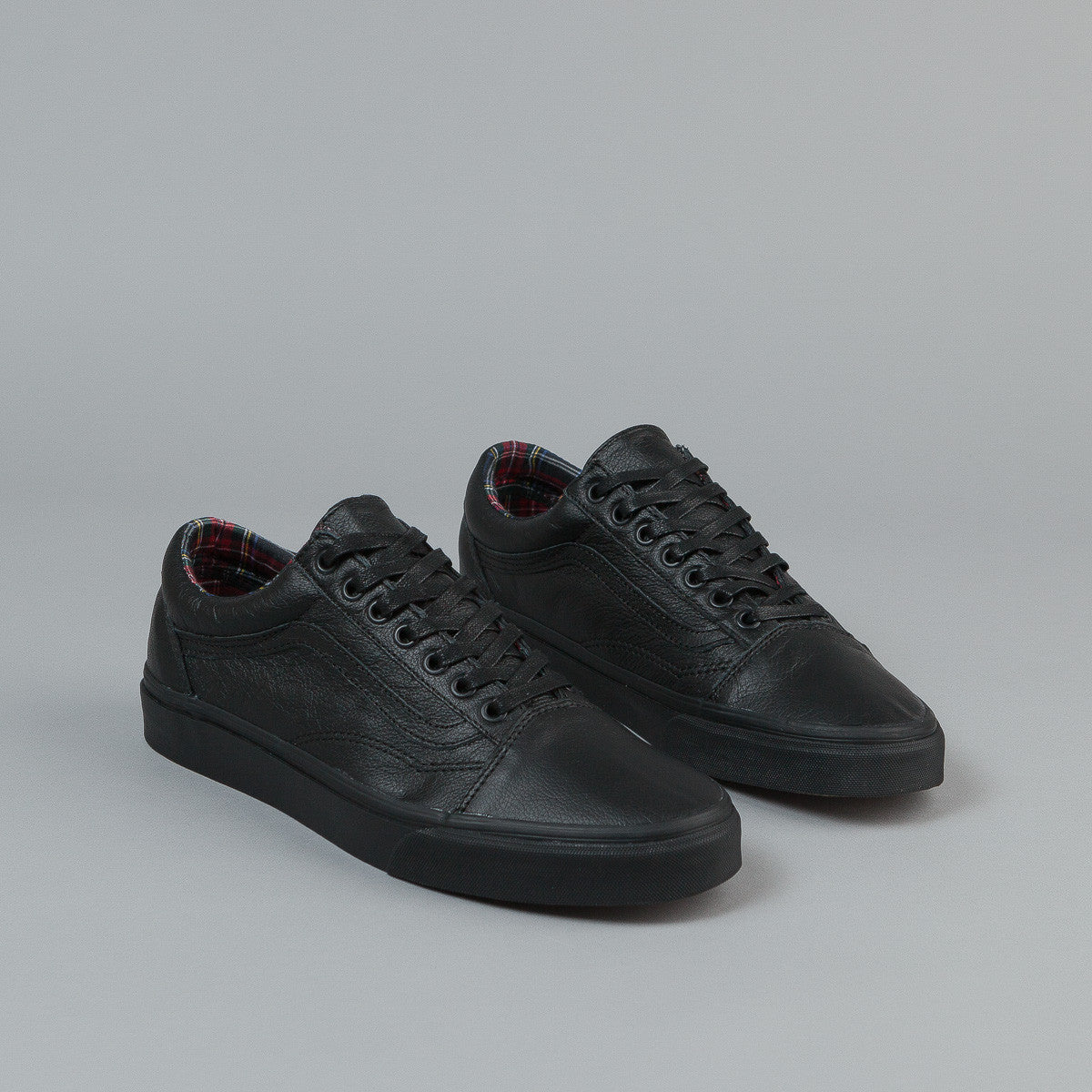 Vans Old Skool Shoes (Leather) - Black / Plaid