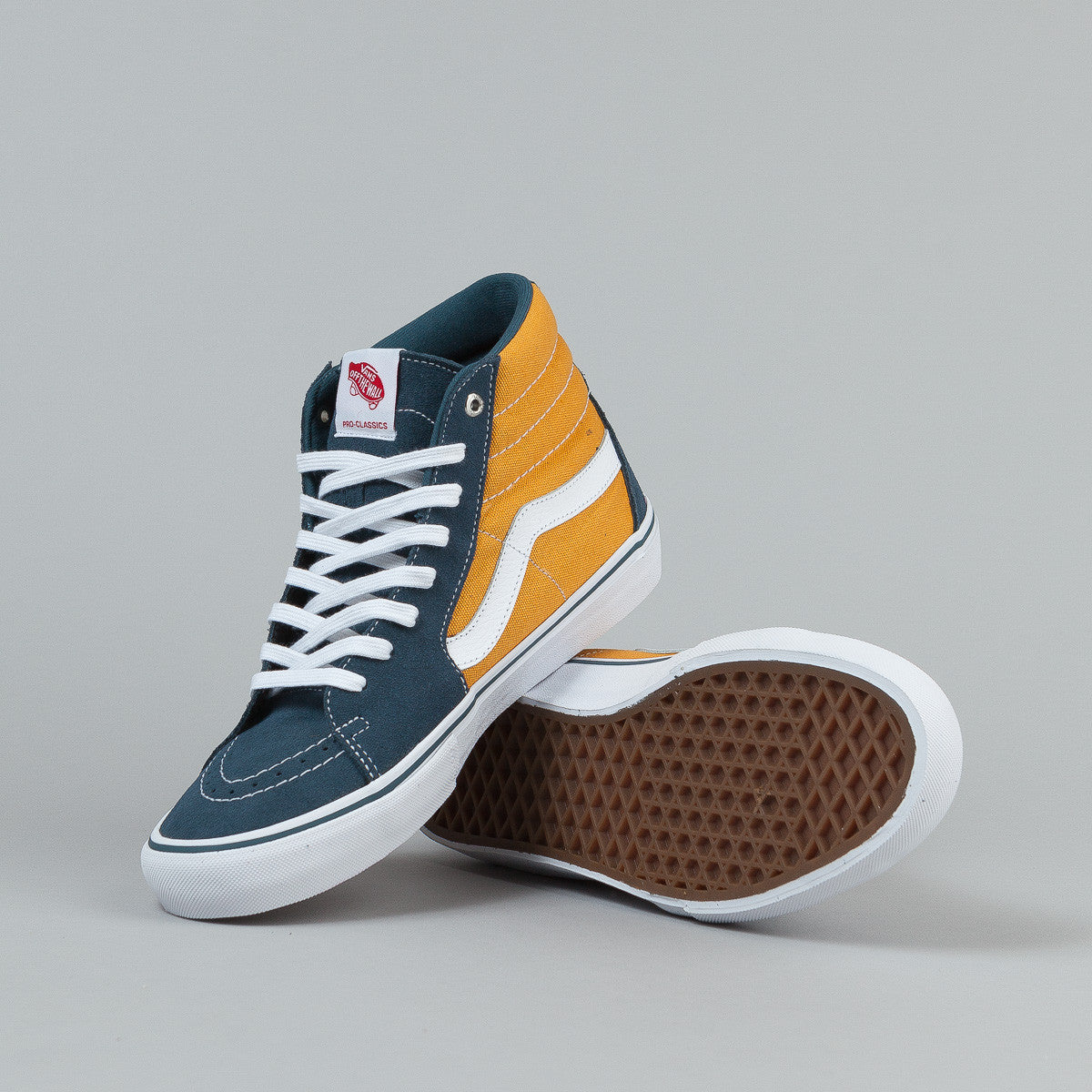 Vans Sk8-Hi Pro Shoes - Blue / Sunflower / White