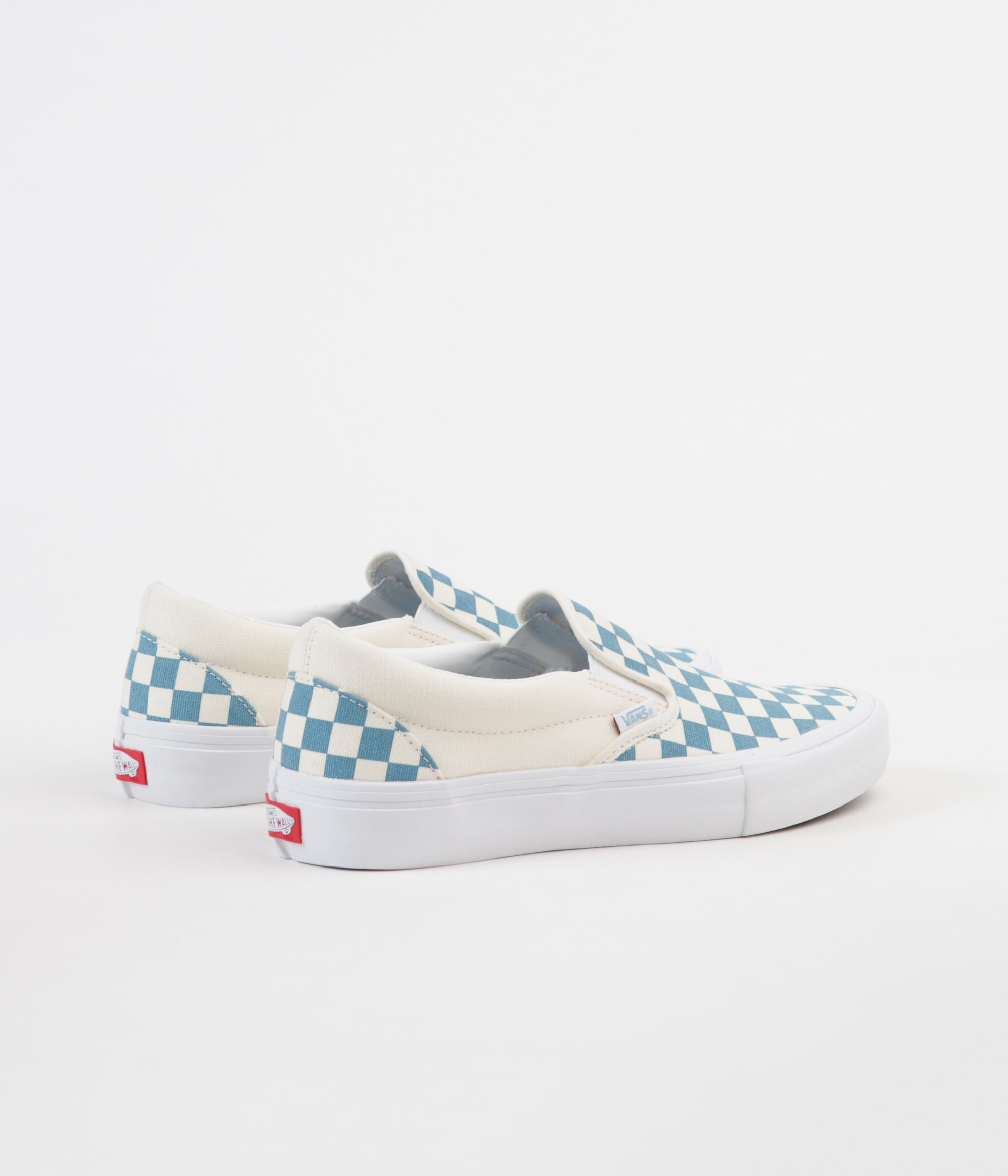 Vans Slip On Pro Checkerboard Shoes - Adriatic Blue / White | Flatspot