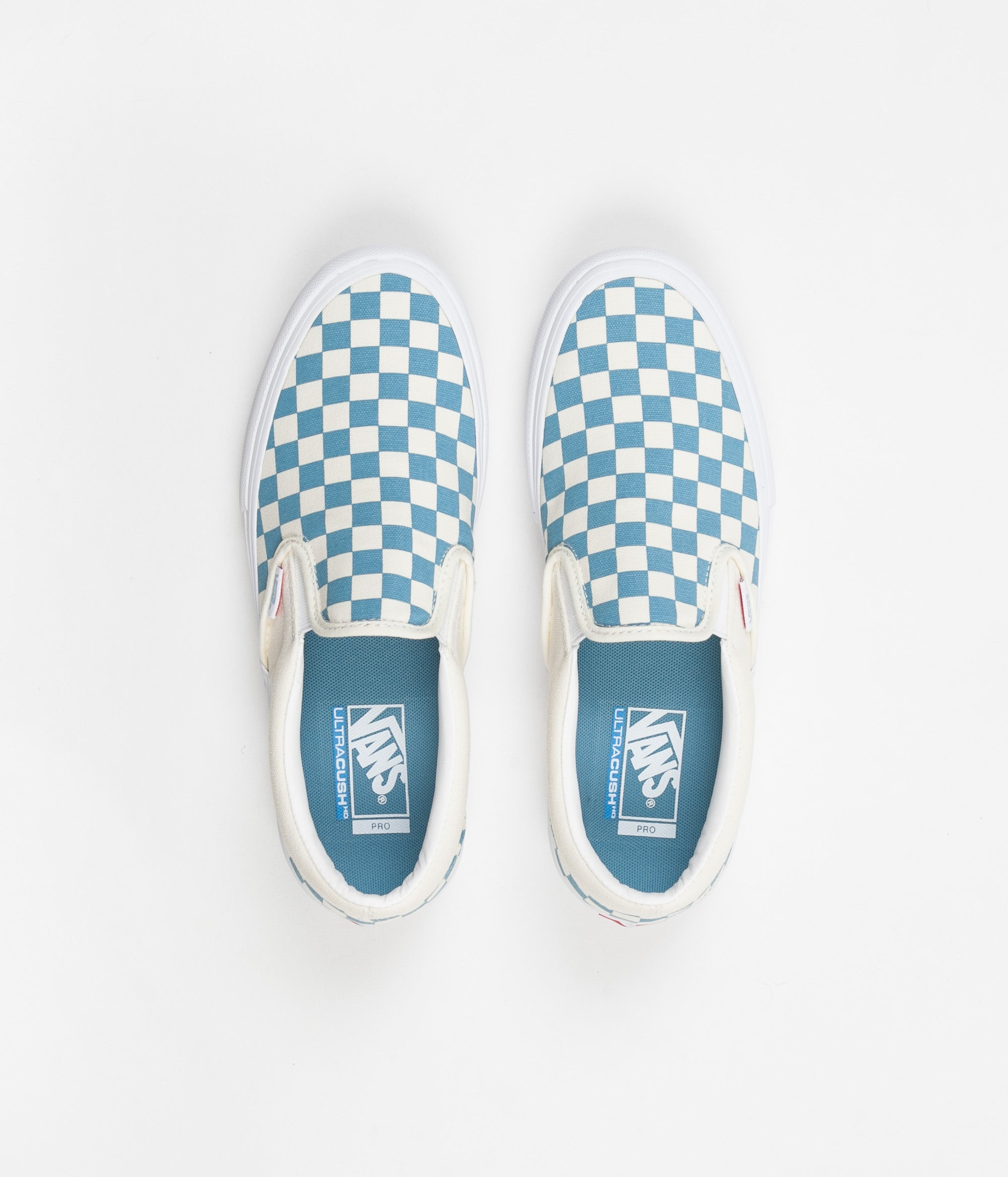 4cbf7a3b8f Vans Slip On Pro Checkerboard Shoes - Adriatic Blue   White ...