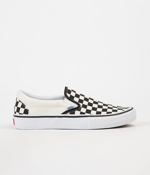 Vans Slip On Pro Checkerboard Shoes - Black / White