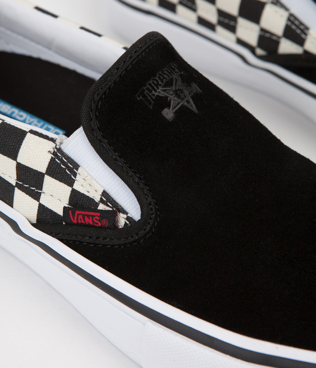 vans x thrasher slip on pro black checkerboard