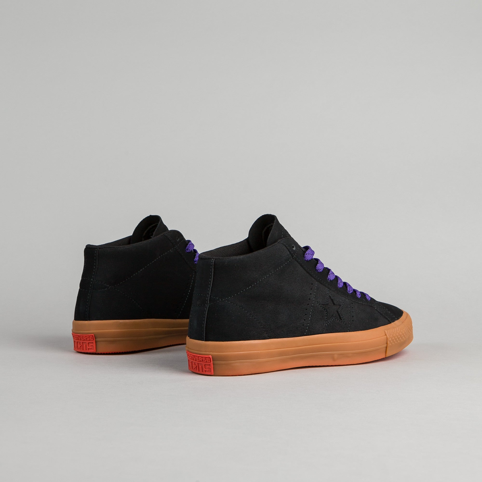Converse One Star Pro Leather Mid Shoes - Black / Gum / Grape