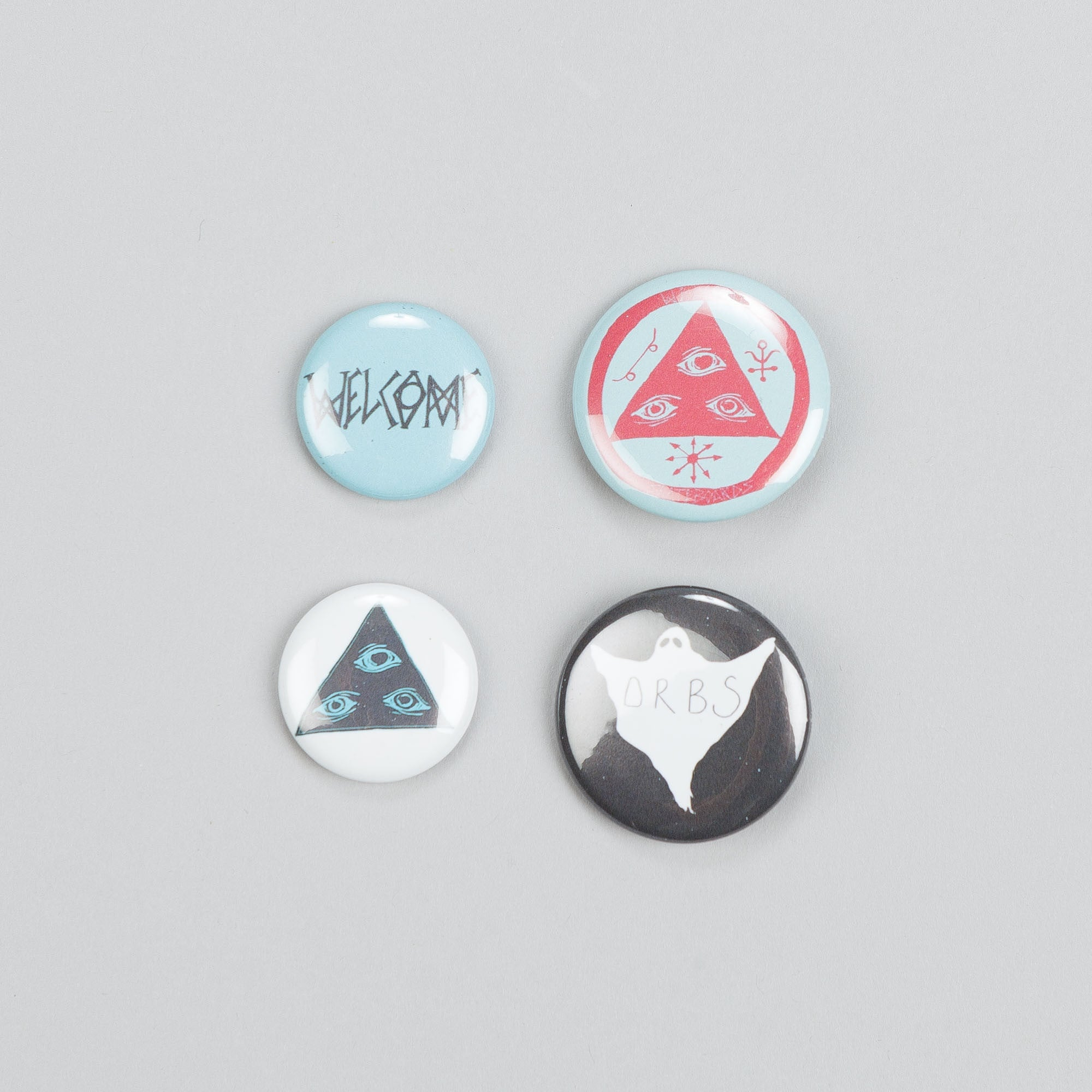 Welcome Button Badges Pack of 4