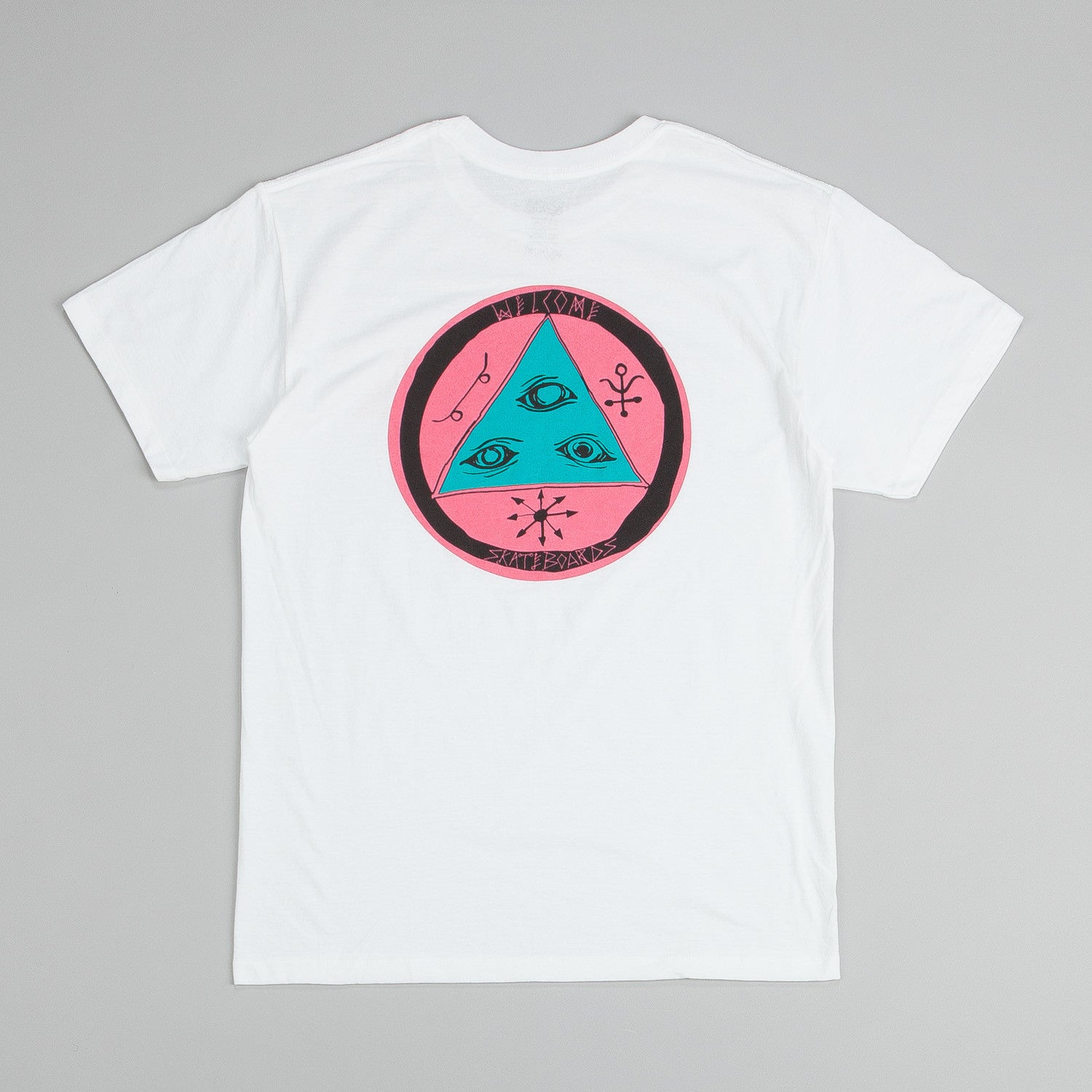 Welcome Talisman Discharge T Shirt White / Pink
