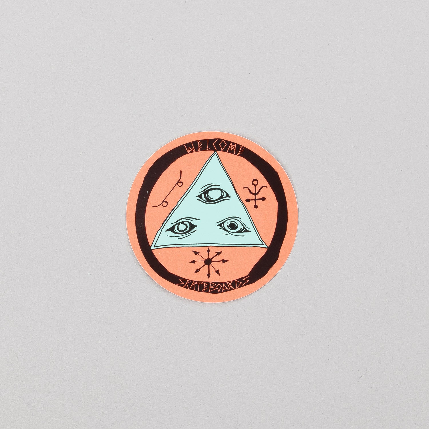 "Welcome Talisman Tri-Colour 3"" Sticker Black / Orange / Teal"
