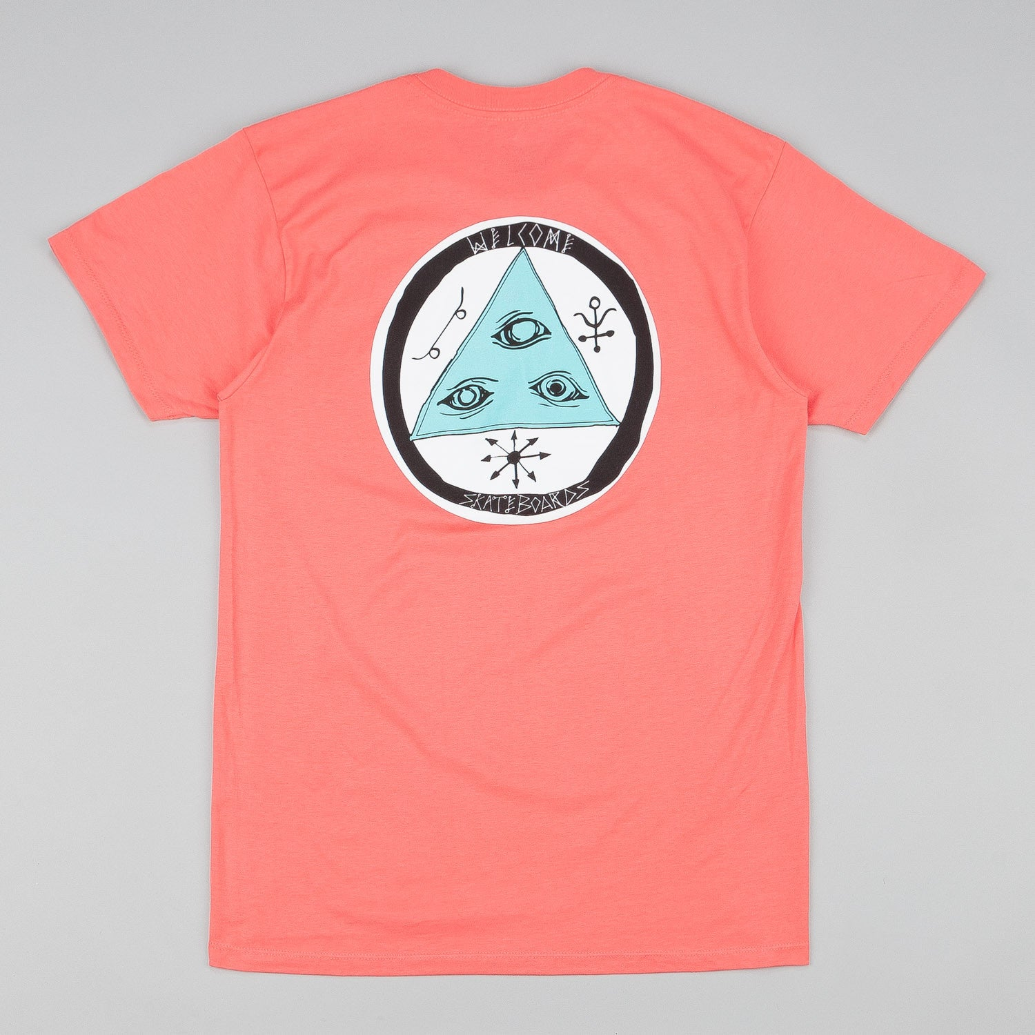 Welcome Talisman Tri-Colour T-Shirt - Coral / Teal / White