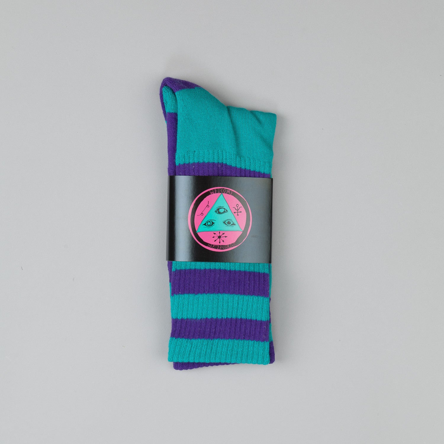 Welcome Triangle Socks Purple / Teal