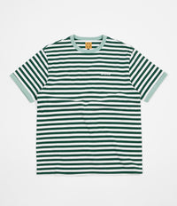 WKND Stripe Knit T-Shirt - Hunter Green / White