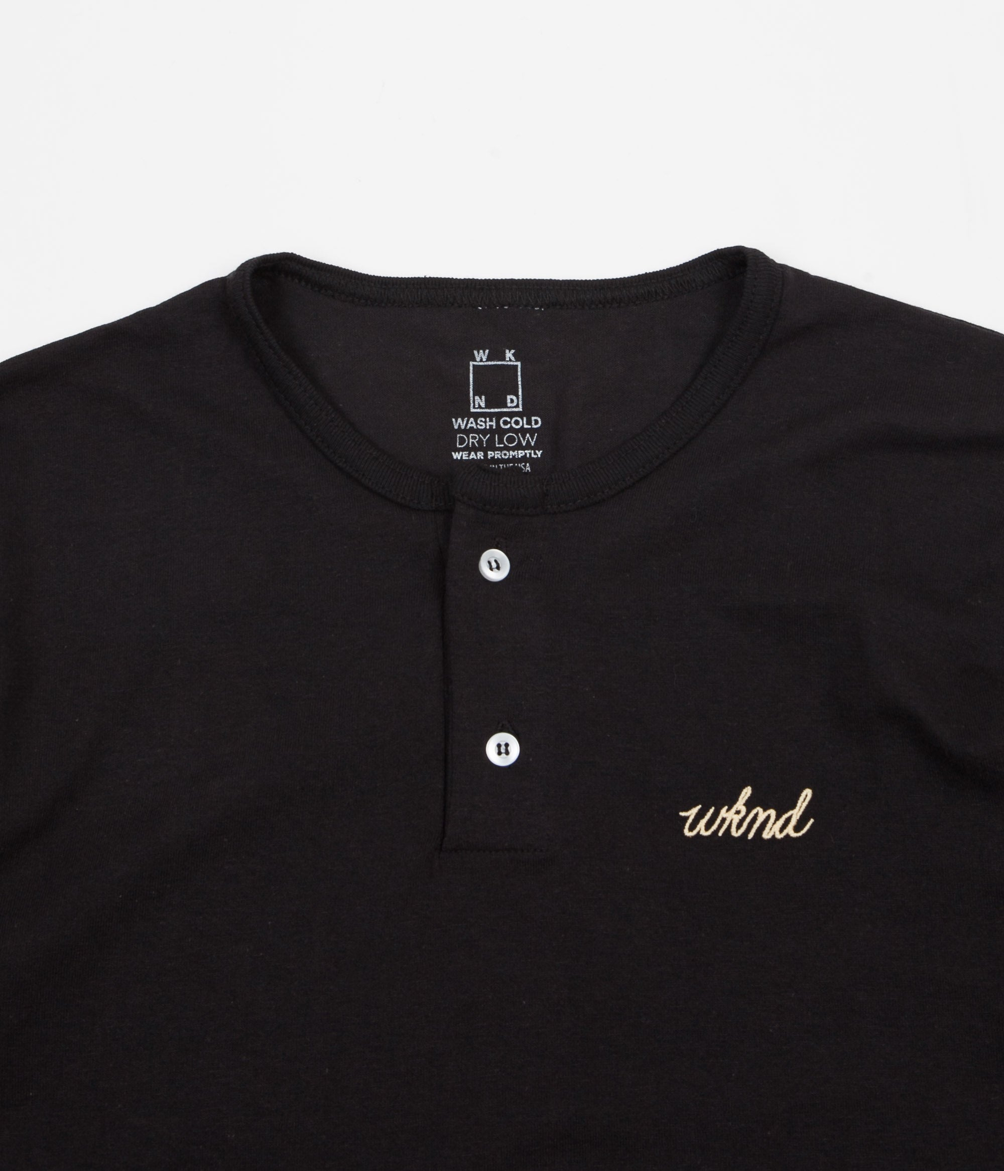 WKND Two Button Henley T-Shirt - Black