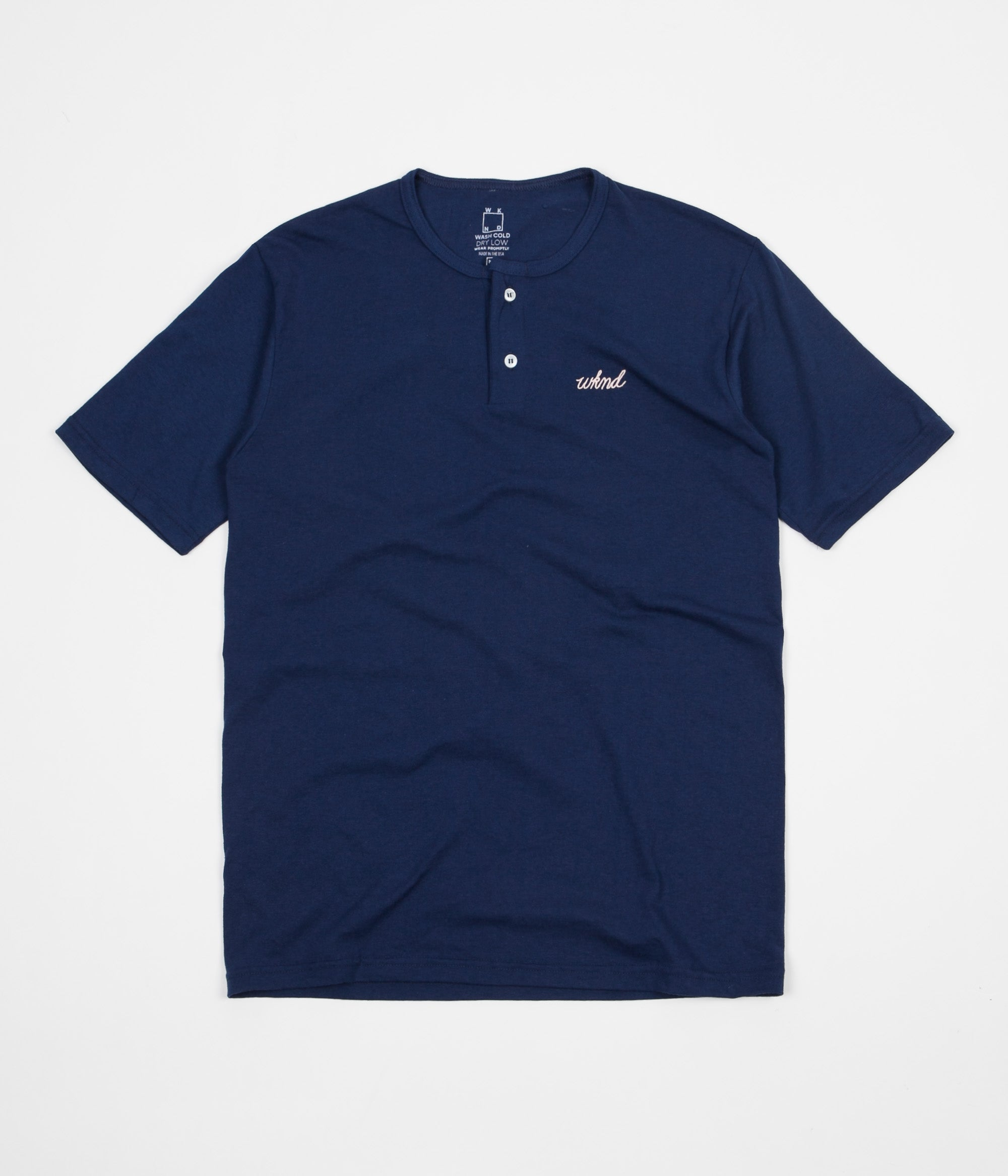 WKND Two Button Henley T-Shirt - Navy