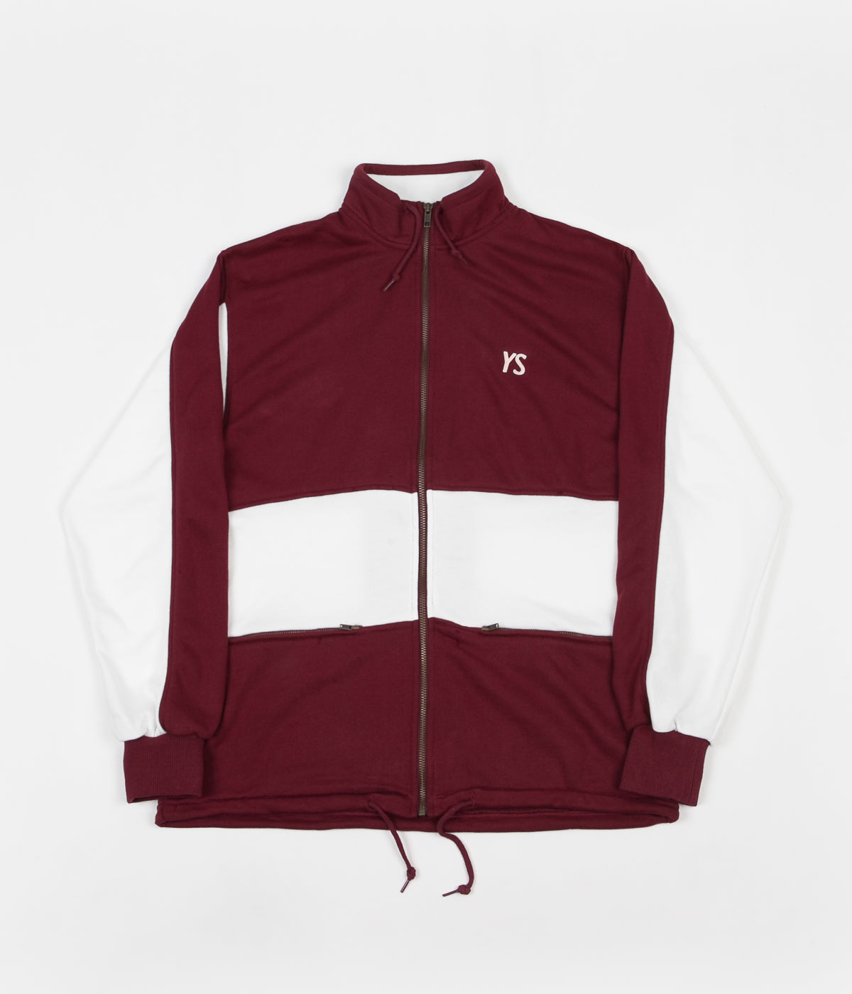 Yardsale Draw String Full Zip Sweatshirt - Cardinal / White
