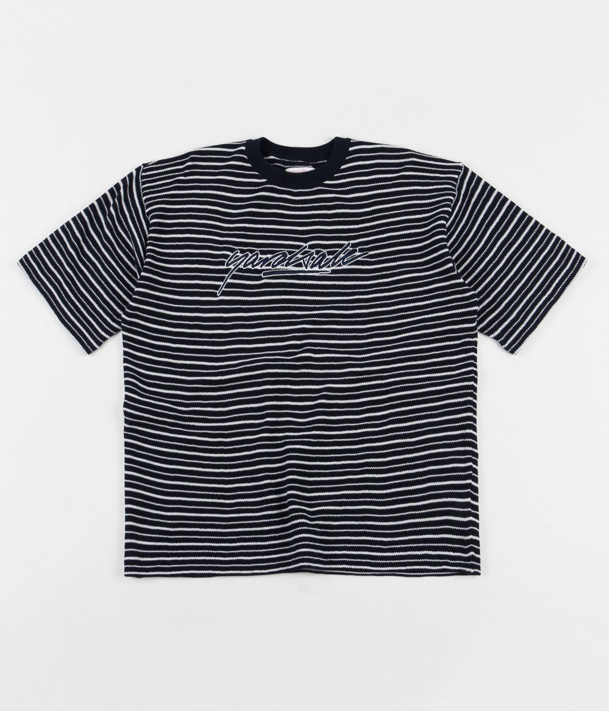 Yardsale Mobb Knitted Script T-Shirt - Navy / White