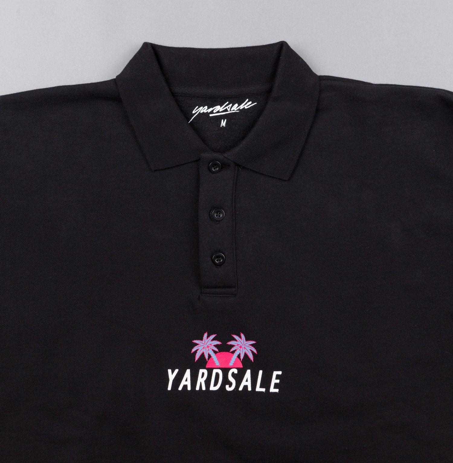 Yardsale Palm Polo Sweatshirt - Black