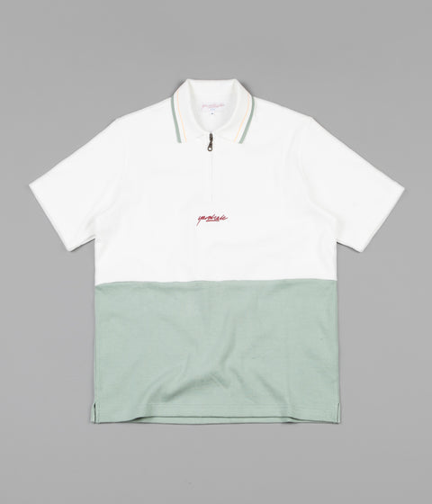 Yardsale Tiger 1/4 Zip Polo Shirt - Linden Green / White