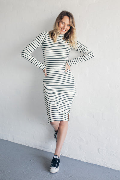 STRIPED JERSEY DRESS ( SALE )