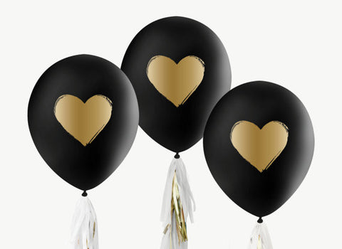 Black and Gold Heart Balloons (Set of 3)