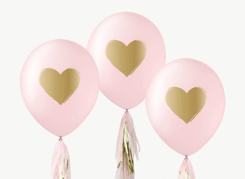 "12"" Pink & Gold Balloons (Set of 3)"
