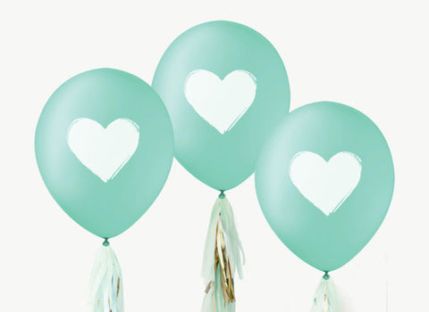 "12"" Teal & White Balloons (Set of 3)"