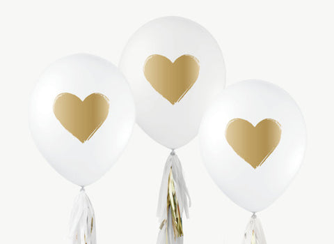"12"" White & Gold Balloons (Set of 3)"