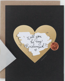 Scratch-off Black and Gold Heart Card