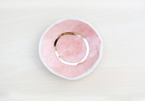 Pink + Gold Porcelain Ring Dish
