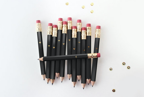 Black and Gold Foil Heart Mini Pencils (Set of 12)