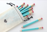 Teal and Gold Foil Heart Mini Pencils (Set of 12)