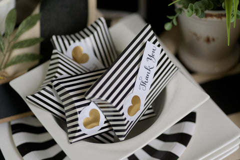 Black and Gold Heart Favor Box Kit (Pack of 12)