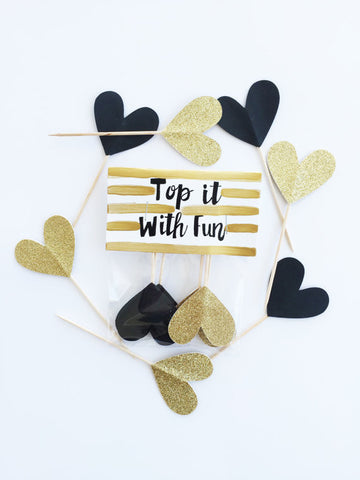 Black and Gold Heart Cupcake Toppers (Pack of 6)