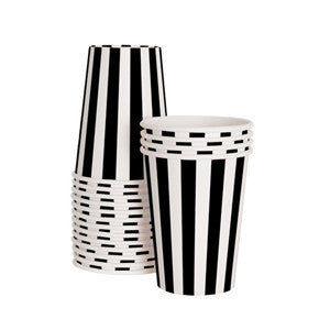 Black Tie Paper Cups 12 PC