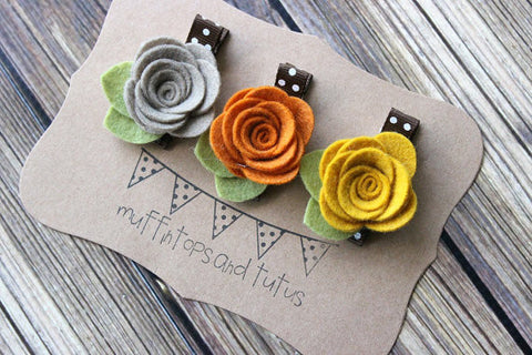 Fall felt flower hair clip set