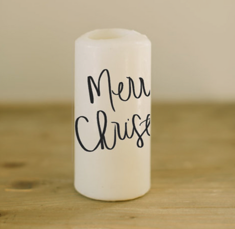 Merry Christmas Pillar Candle
