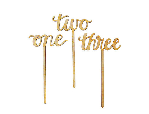 Calligraphy Script Wood Table Numbers / Cake Toppers