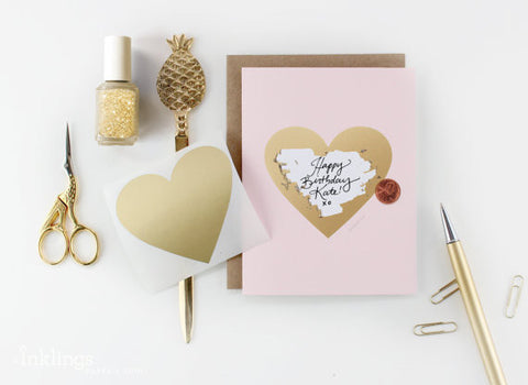Pink and Gold Heart Card