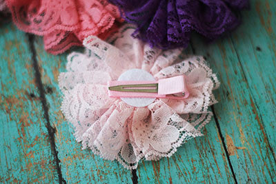 Light Pink Vintage Lace Flower Clip