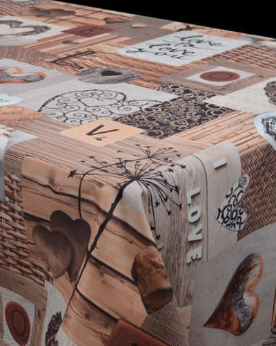 Tablecloth Brown Love - CLICK IN RED