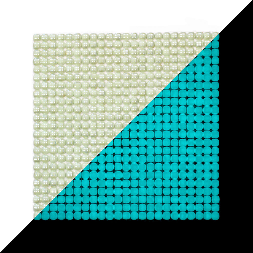 Lacrimae Lucis IVORY/AQUAMARINE Glow-in-the-dark Glass Tile / 1 sq. meter box (10 sheets)