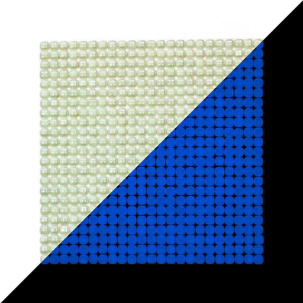 Lacrimae Lucis IVORY/OCEAN BLUE Glow-in-the-dark Glass Tile / 1 sq. meter box (10 sheets)