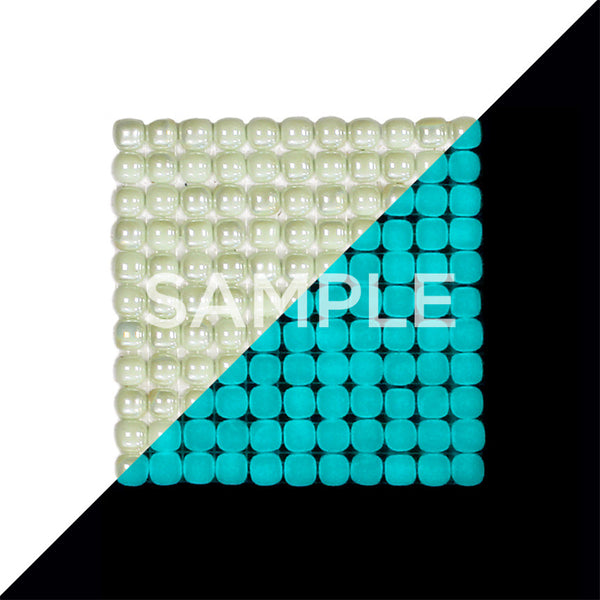 Lacrimae Lucis IVORY/AQUAMARINE Glow-in-the-dark Glass Tile  (6 inch SAMPLE)
