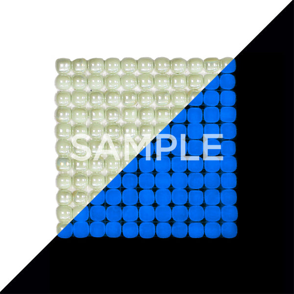 Lacrimae Lucis IVORY/OCEAN BLUE Glow-in-the-dark Glass Tile  (6 inch SAMPLE)