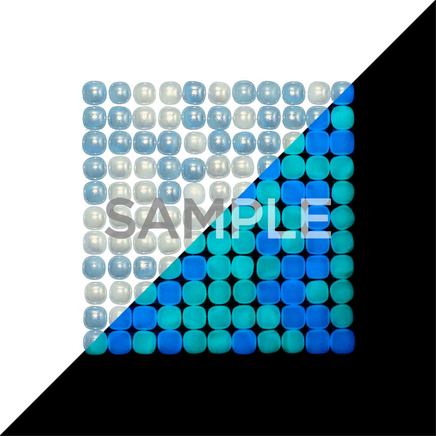 Lacrimae Lucis MIXED AQUA/OCEAN BLUE Glow-in-the-dark Glass Tile  (6 inch SAMPLE)