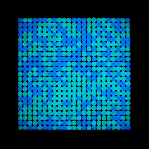 Lacrimae Lucis MIXED AQUA/OCEAN BLUE Glow-in-the-dark Glass Tile / 1 sq. meter box (10 sheets)
