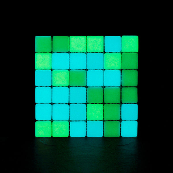 Opus One YG + LIGHT BLUE MATTE Glow-in-the-dark Glass Tile  (6 inch SAMPLE)