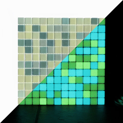 Opus One YELLOW GREEN Glow-in-the-dark Glass Tile / 1 sq. meter box (10 sheets)