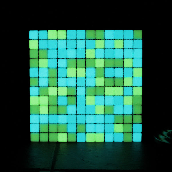 Opus One YELLOW GREEN MATTE Glow-in-the-dark Glass Tile / 1 sq. meter box (10 sheets)