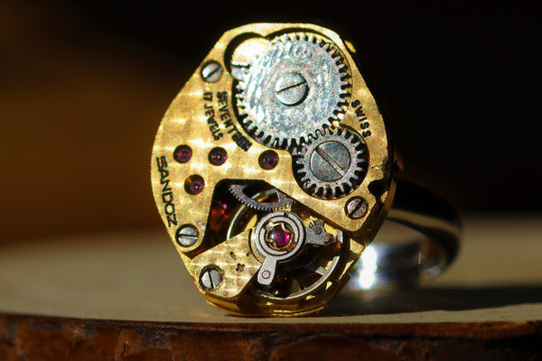 Diamond Shaped Golden Watch Movement Ring Sandoz