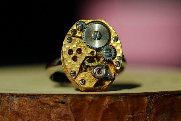 Oval Golden Watch Movement Ring - Enicar