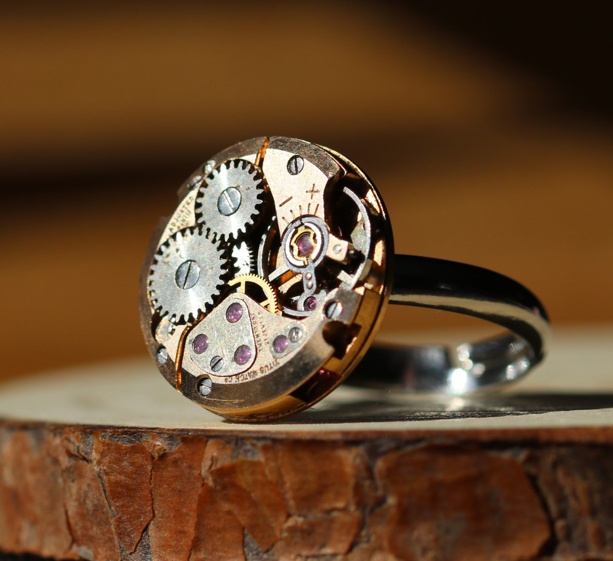 Round Rose Gold Watch Movement Ring